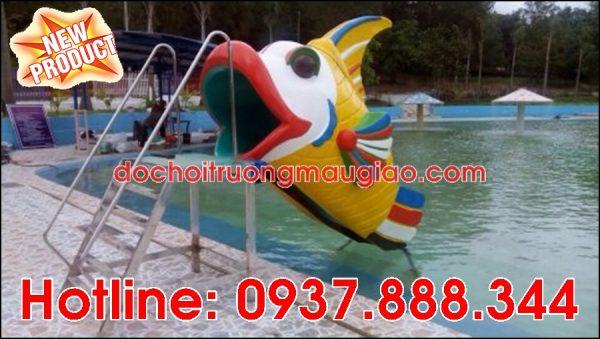 Cầu tuột hình cá ngộ nghĩnh dành cho bể bơi với giá rẻ tại HCM