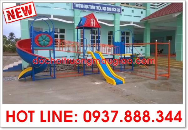 Cầu trượt liên hoàn cứng cáp, chắc chắn an toàn dành cho các trường mẫu giáo, trường tiểu học